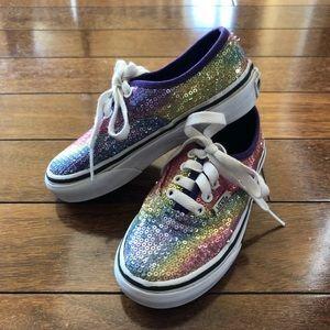 Kids Vans rainbow sparkle lace sneakers Sz 10.5